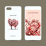 Mobile phone cover back and screen, love tree for Stock Image