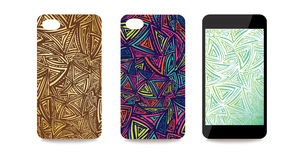 Mobile phone cover back and screen set with abstract triangle.ep Royalty Free Stock Photo