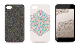 Mobile phone cover back and screen set with Paisley pattern Royalty Free Stock Images