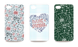 Mobile phone cover back set.Back to school Stock Image