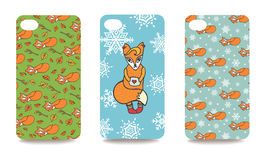 Mobile phone cover back set .Cute fox Royalty Free Stock Image