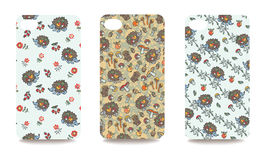 Mobile phone cover back set .Cute hedgehog,Autumn harvest Stock Image