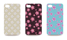 Mobile phone cover back set with floral pattern Stock Photo