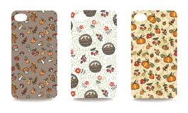 Mobile phone cover back set .Mushrooms,berries.Autumn harvest Stock Images