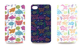 Mobile phone cover back set with sea life pattern Royalty Free Stock Image