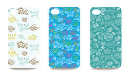 Mobile phone cover  back set with sea life pattern Stock Photography