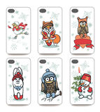 Mobile phone cover  back set .Winter funny animals Royalty Free Stock Photos