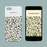 Mobile phone cover design. Floral ornament Stock Photos