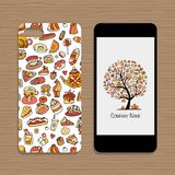 Mobile phone cover, design idea for sweets shop company Stock Photography