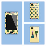 Mobile phone cover with guitars Royalty Free Stock Images