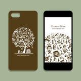 Mobile phone cover mockup, bathhouse design elements. Vector illustration Stock Photo