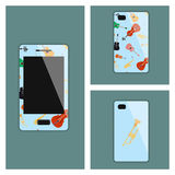 Mobile phone cover with musical instruments Stock Photography