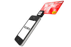 Mobile phone with Credit Card Stock Photos
