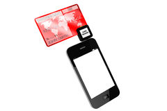 Mobile phone with Credit Card Royalty Free Stock Image