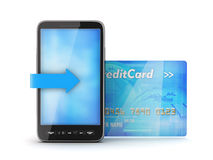 Mobile phone and credit card vector illustration