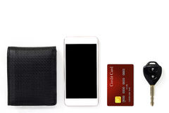 Mobile phone and credit card, key and wallet isolated on white b Stock Photos