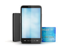 Mobile phone, credit card and leather wallet Royalty Free Stock Photo