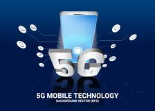 Mobile phone 3D with 5G and function icon. royalty free illustration