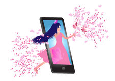 Mobile phone with dancing girl Royalty Free Stock Image