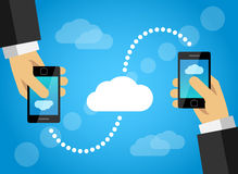 Mobile phone data sharing with internet cloud Royalty Free Stock Image