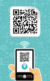 Mobile phone decoder qr code Stock Photography