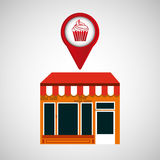 Mobile phone dessert shop locator Royalty Free Stock Photo