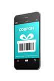 Mobile phone with discount coupon over white Stock Images
