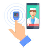 Mobile phone with doctor online and pulsometer on a finger. Royalty Free Stock Photography