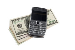 Mobile phone with dollar Stock Photos