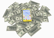 Mobile phone and dollar bank notes Stock Photos