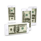 Mobile phone dollas. Stock Image