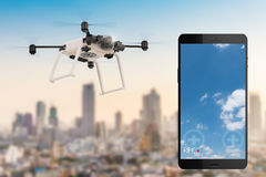 Mobile phone with drone stock illustration