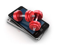 Mobile phone and Dumbbells , 3D concept Royalty Free Stock Photos