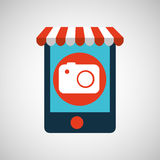 Mobile phone e-commerce and photographic camera. Vector illustration eps 10 stock illustration
