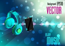Mobile phone and earphone with music wave Stock Image
