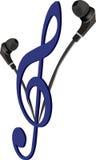 Mobile phone earphones for listening to music Stock Photo