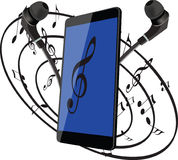 Mobile phone earphones for listening to music Royalty Free Stock Image
