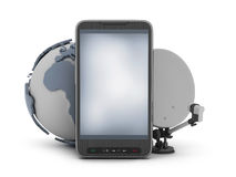 Mobile phone, earth globe and satellite Royalty Free Stock Photography