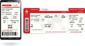 Mobile phone and paper boarding pass Stock Photo