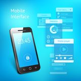 Mobile phone with elements for the user interface Royalty Free Stock Photos