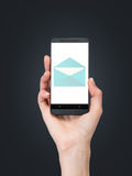 Mobile phone with email. Hand holding mobile phone with email Royalty Free Stock Photo