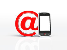 Mobile phone and email sign. 3d render Royalty Free Stock Photo