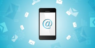Mobile phone and emails background Royalty Free Stock Photo