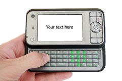 Mobile phone with empty screen for text royalty free stock photo