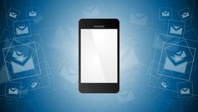 Mobile phone and envelopes background Royalty Free Stock Image