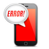 Mobile Phone Error Message. Mobile phone displaying error message on red screen royalty free illustration