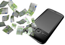 Mobile phone with euros Royalty Free Stock Image