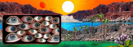 Mobile phone and fantastic landscape with sun, red moon, rocks, light house, mist and blue lagoon. Cell phone with human eyes on background of fantastic royalty free stock photography