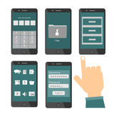 Mobile phone files and money security concept. With human hand touching screen. File security apps icon Royalty Free Stock Photography