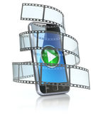 Mobile phone and film. 3D concept Royalty Free Stock Images